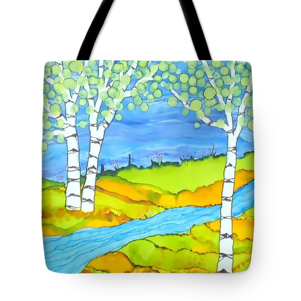 Birch Tree Landscape  Tote Bag