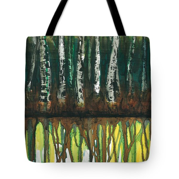 Birch Trees #3 Tote Bag by Rebecca Childs