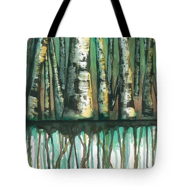 Birch Trees #5 Tote Bag by Rebecca Childs
