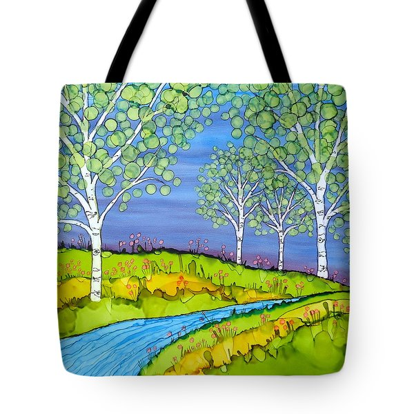 Birch Trees Abstract Landscape Ceramic Tile Paitning Tote Bag