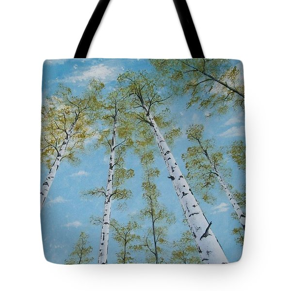 Birch Trees And Sky Tote Bag