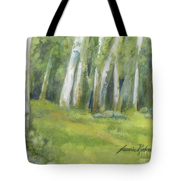 Birch Trees And Spring Field Tote Bag