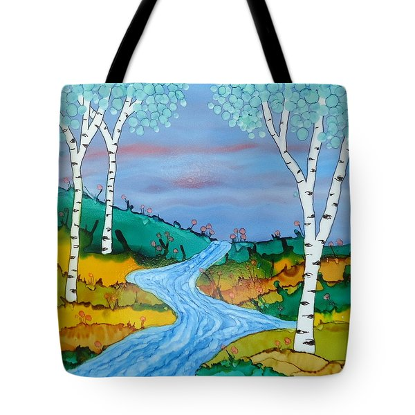 Birch Trees And Stream Tote Bag