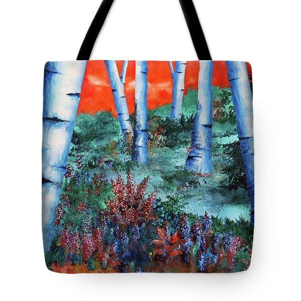 Birch Trees At Sunset Tote Bag by Curtiss Shaffer