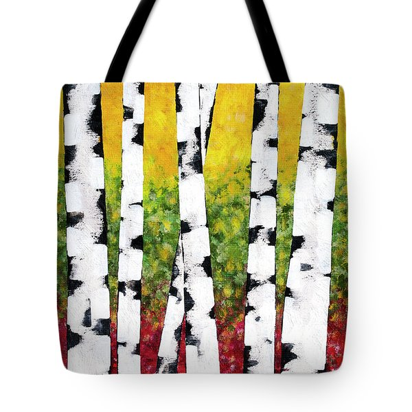 Tote Bag featuring the mixed media Birch Forest Trees by Christina Rollo