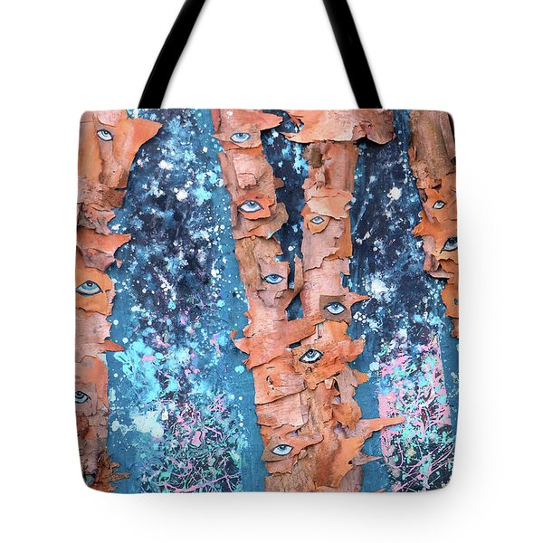Tote Bag featuring the mixed media Birch Trees With Eyes by Genevieve Esson