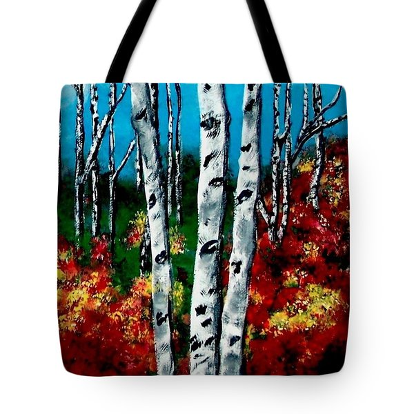 Tote Bag featuring the painting Birch Woods 2 by Sonya Nancy Capling-Bacle