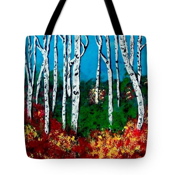 Tote Bag featuring the painting Birch Woods by Sonya Nancy Capling-Bacle