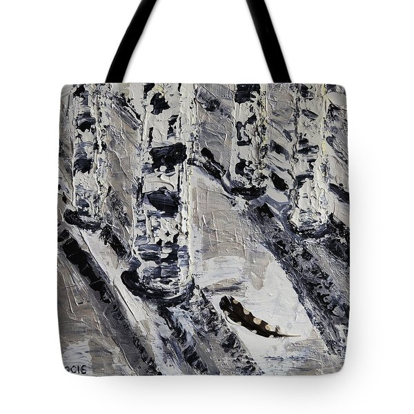 Birches And Snowy Shadows Tote Bag by Valerie Ornstein