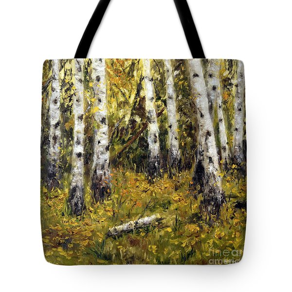 Tote Bag featuring the painting Birches by Arturas Slapsys