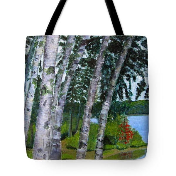 Birches At First Connecticut Lake Tote Bag