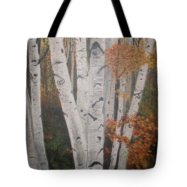 Birches In Fall Tote Bag by Betty-Anne McDonald