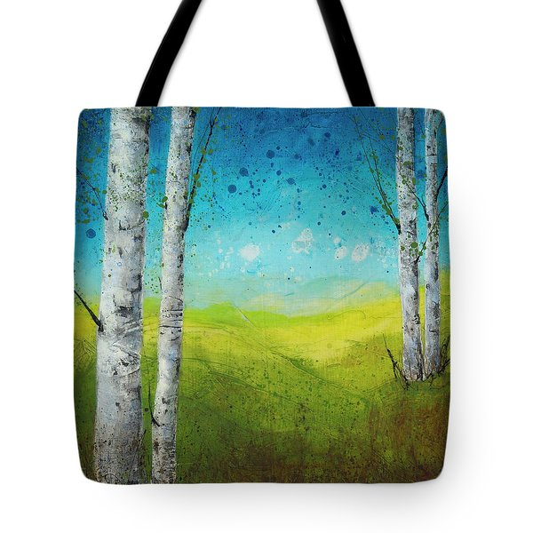Birches In Green Tote Bag