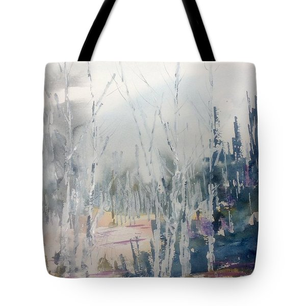 Birches In Haze  Naim's Enchatned Forest Tote Bag