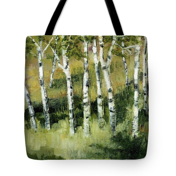 Tote Bag featuring the painting Birches On A Hill by Michelle Calkins