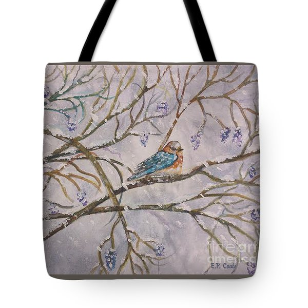 Tote Bag featuring the painting Bird And Branches by Elizabeth Coats