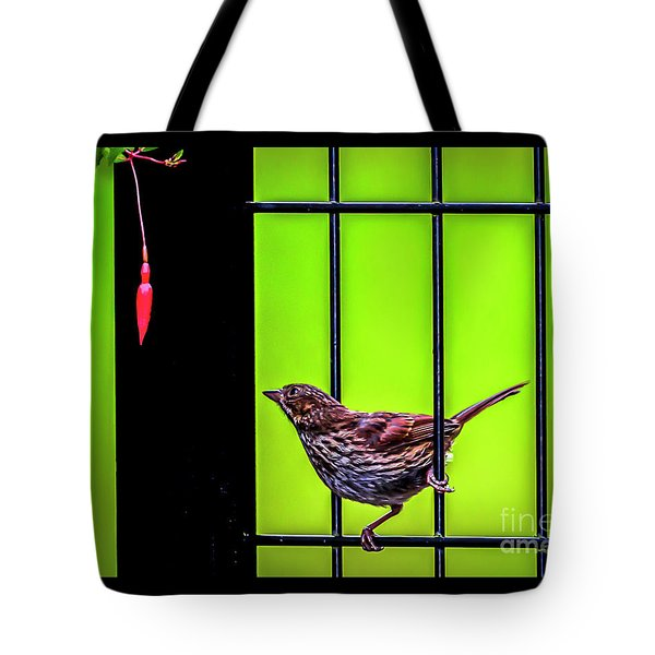Bird And Red Fuchsia Flower Tote Bag
