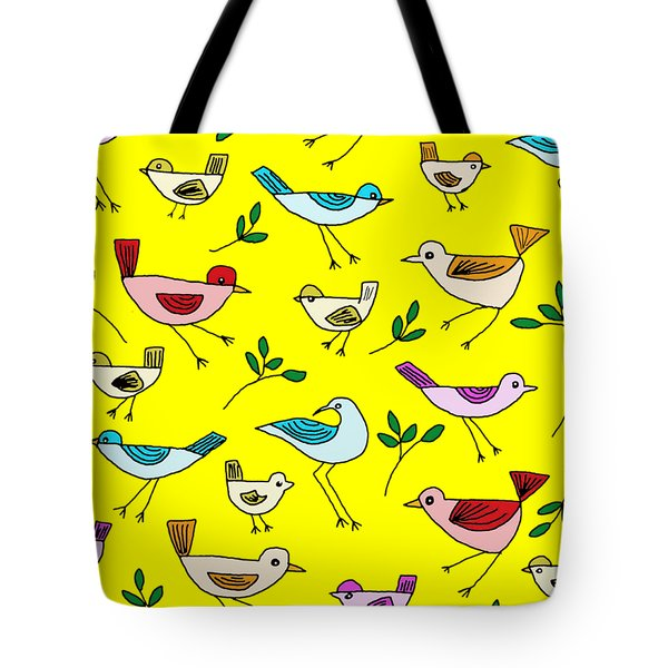 Bird Cluster Tote Bag by Priscilla Wolfe