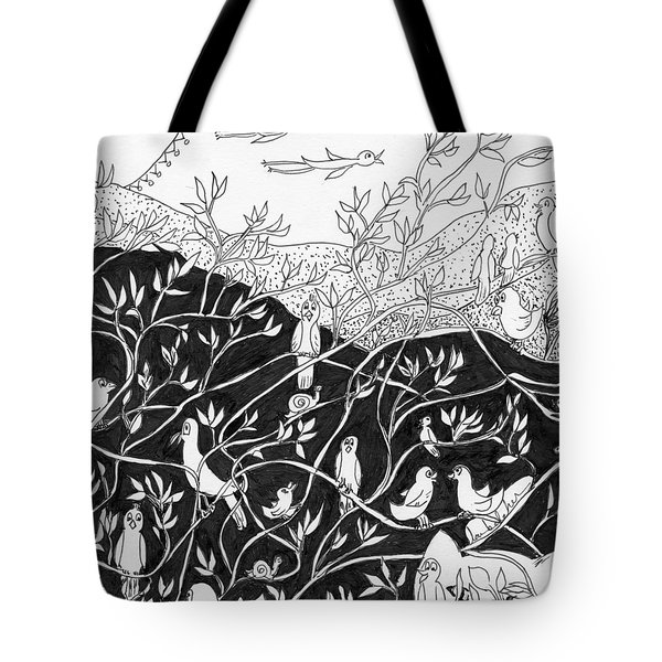 Tote Bag featuring the painting Bird Convention by Lou Belcher