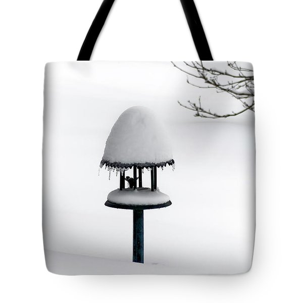 Bird Feeder In Snow Tote Bag