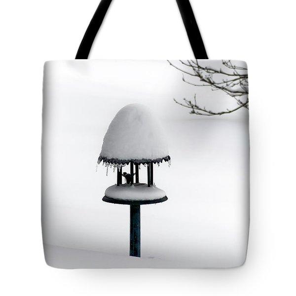 Bird Feeder In Snow Tote Bag