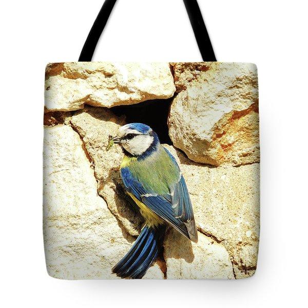 Bird Feeding Chick Tote Bag