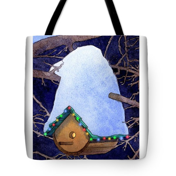Bird House Christmas Tote Bag