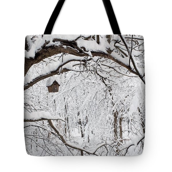 Bird House In Snow Tote Bag