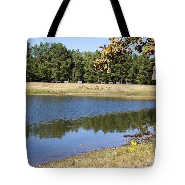 Bird House Lake Tote Bag