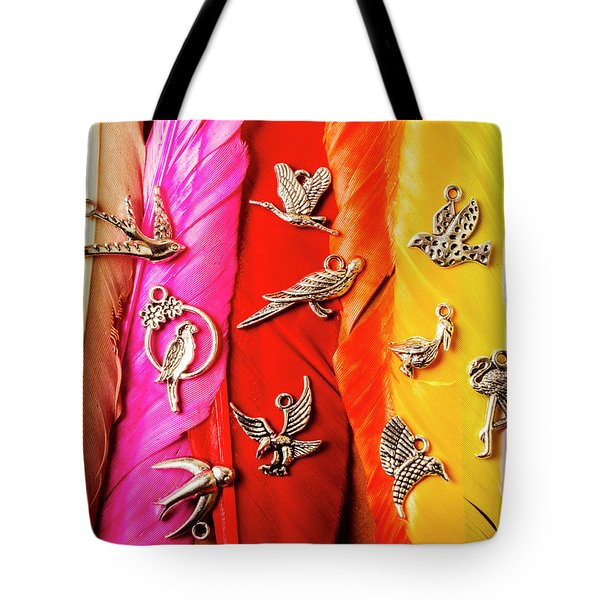 Bird Icons And Rainbow Feathers Tote Bag