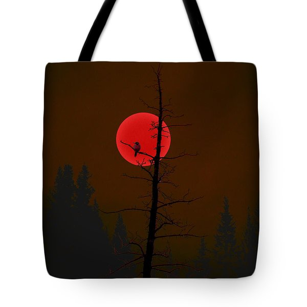 Tote Bag featuring the digital art Bird In A Tree by Stuart Turnbull
