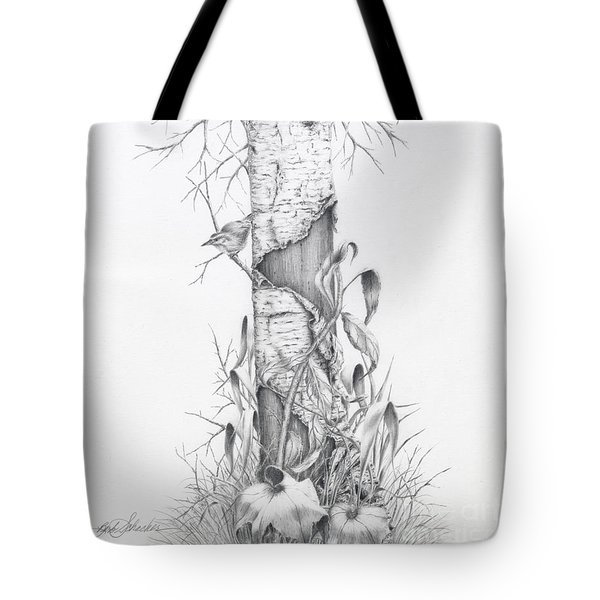Bird In Birch Tree Tote Bag