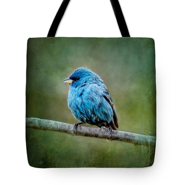 Bird In Blue Indigo Bunting Ginkelmier Inspired Tote Bag