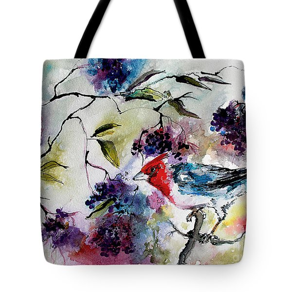Bird In Elderberry Bush Watercolor Tote Bag