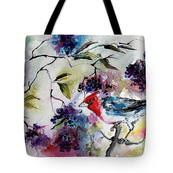 Bird In Elderberry Bush Watercolor Tote Bag