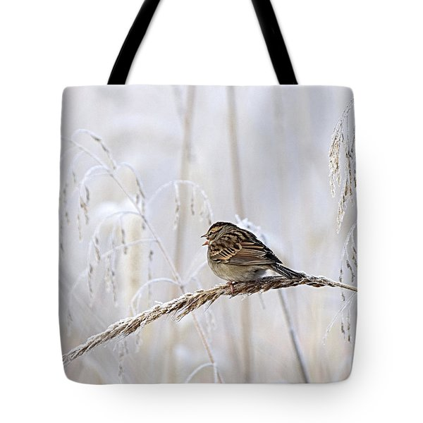 Bird In First Frost Tote Bag