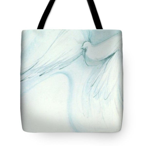 Tote Bag featuring the drawing Bird In Flight by Denise Fulmer
