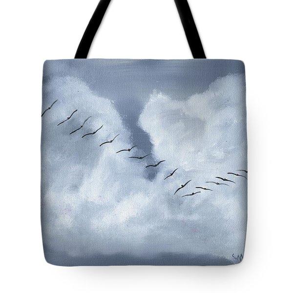 Birds In Flight Tote Bag by Sharon Mick