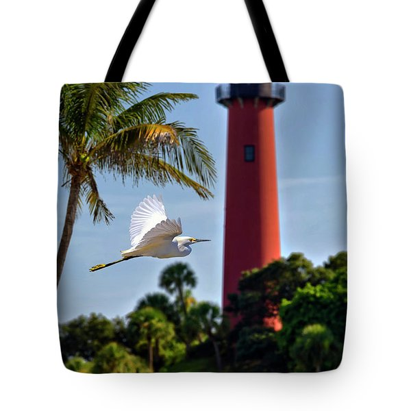 Bird In Flight Under Jupiter Lighthouse, Florida Tote Bag