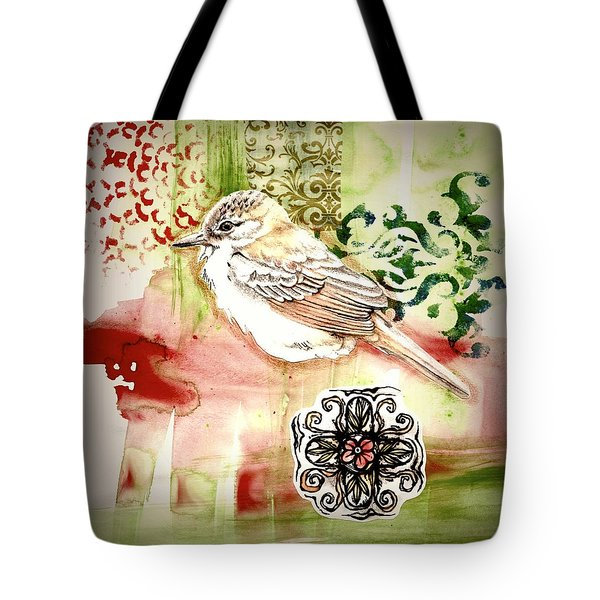 Tote Bag featuring the mixed media Bird Love by Rose Legge