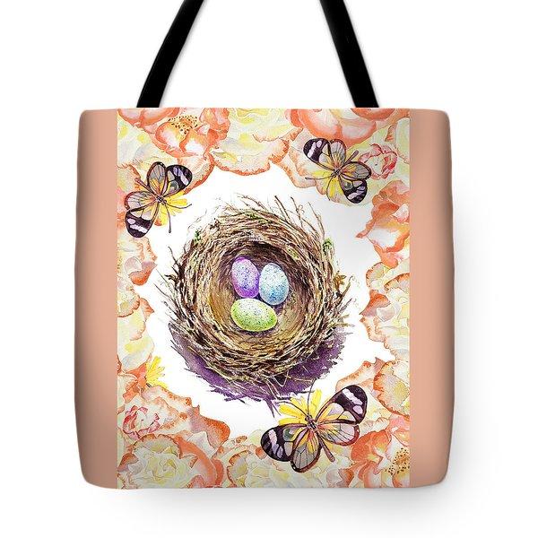 Bird Nest Roses Butterflies Tote Bag