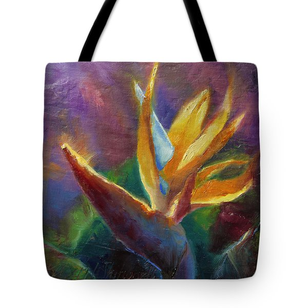 Tote Bag featuring the painting Bird Of Paradise - Tropical Hawaiian Flowers by Karen Whitworth