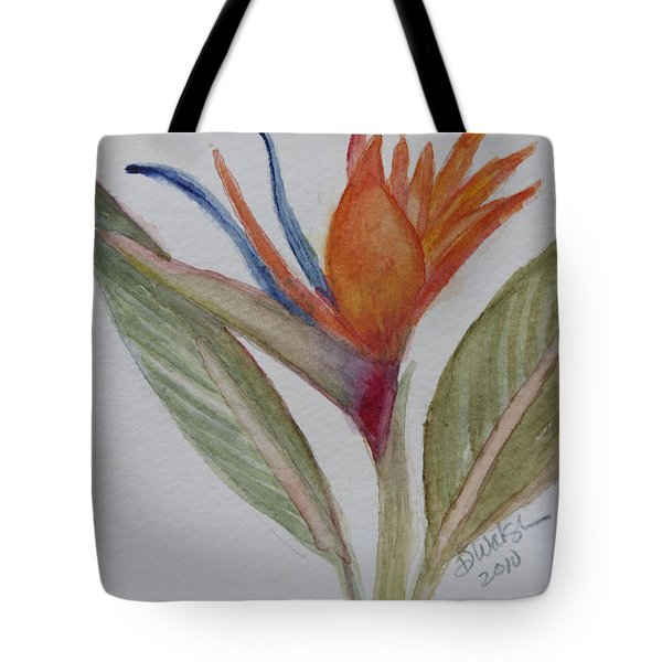Tote Bag featuring the painting Bird Of Paradise by Donna Walsh