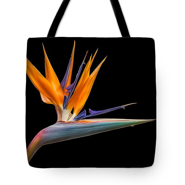 Bird Of Paradise Flower On Black Tote Bag