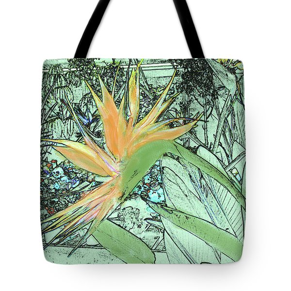 Tote Bag featuring the photograph Bird Of Paradise In The Hothouse by Nareeta Martin