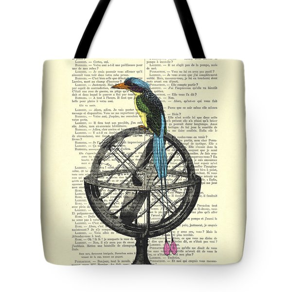 Colorful Bird Of Paradise Sitting On Globe Tote Bag