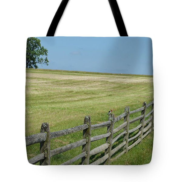 Bird On A Fence Tote Bag by Donald C Morgan