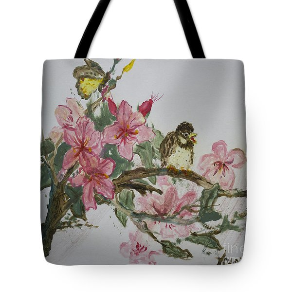 Tote Bag featuring the painting Bird On Blossoms by Avonelle Kelsey