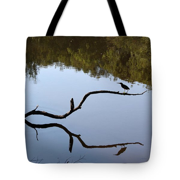 Bird On Branch Silhouette Tote Bag