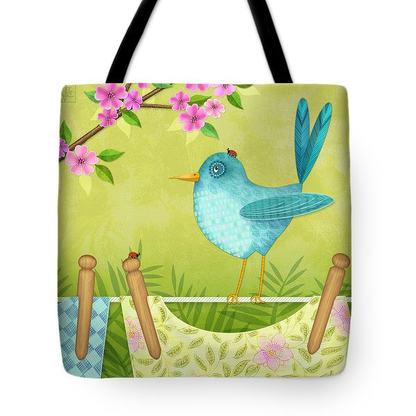 Bird On Clothesline Tote Bag